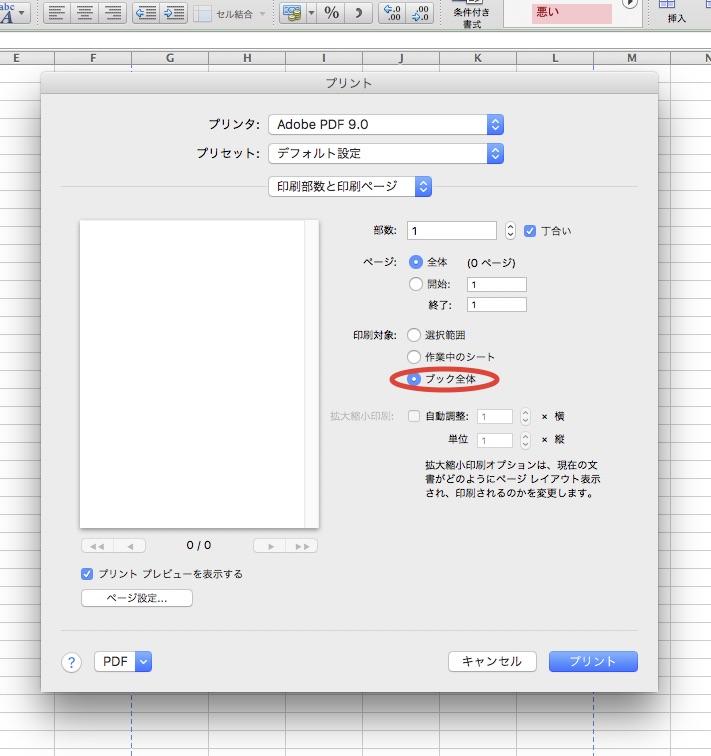 mac版excelで複数ページをpdf化する方法 エクセルのワークシート タブ